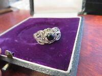 Wundervoller 925 Silber Ring Jugendstil Art Deco Markasit Onyx Kugel Organisch