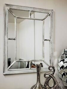 Distressed Antique White window Mirror Stylish Decor Wall hallway rustic 60x76CM