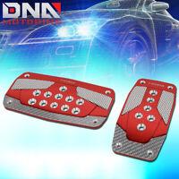 Red w//Silver Carbon Fiber Trim UrMarketOutlet NRG PDL-450RD Brake//Gas//Clutch Automatic at Sport Race Foot Pedal Plates Cover Set
