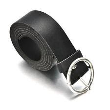 Black Women Lady Vintage Metal Boho Leather Round Buckle Waist Belt Waistband