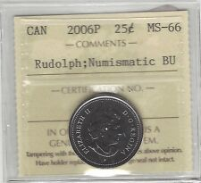 **2006P Rudolph**, ICCS Graded Canadian, 25 Cent, **MS-66 NBU**