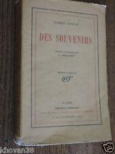 Des souvenirs Joseph Conrad  NRF Gallimard 1924 Edition originale numérotée