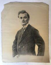 Dessin ancien signé et daté 1911, portrait au fusain. Grand format