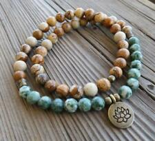 54 Mala ree Agate Picture Jasper beads Lotus necklace gemstone bracelet yoga