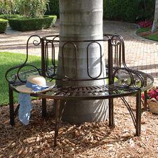 3-Piece Brown Metal Patio Tree Surround Bench Outdoor Home Garden Furniture Yard