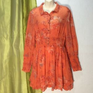 FREE PEOPLE Sz L Fit-Flare Dress Peasant Long Sleeve Above The Knee Orange H173