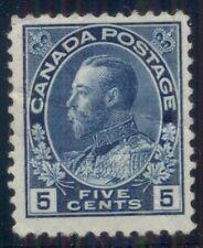 CANADA #111 5¢ dark blue, og, hinged, Scott $175.00