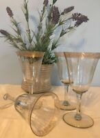 4 Vintage Etched Glass Gold Rim Wine Glasses