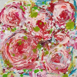 Red Roses Floral Mini Painting Original Impasto Knife Art Katie Jeanne Wood