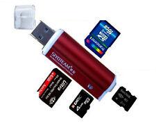 Rot Mini Aluminium Kartenleser USB 2.0 Micro SD MMC SDHC M2 Card Reader Adapter
