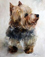MARY SPARROW Yorkie Yorkshire Terrier Dog Art Oil Painting Decor PRINT