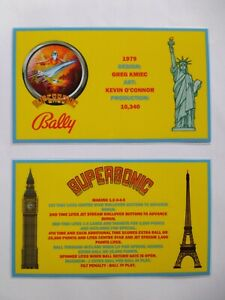* * 'SUPERSONIC' Bally 1979 Custom  Instruction/Apron Cards * * (New)