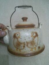 Antique japanese teapot / glass and metal