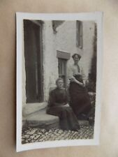 Real Photograph Vintage Old Postcard Unposted Women Sitting on House Steps RP