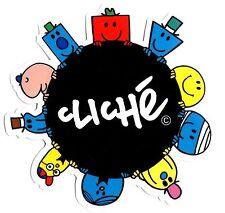 """CLICHE/Mr Men """"CIRCLE"""" Skateboard Sticker 9cm x 9cm Snowboard Camper Mr Bump"""