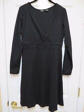 "EDDIE BAUER DEEP VNECK BLACK A-LINE DRESS SZ 10-12  38"" BUST 44"" HIPS NO WRINKLE"