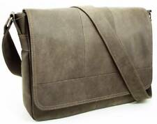 Postman Bag in Worn Leather w/Strap - Gray