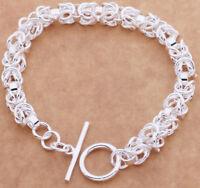 Valentine's 925 Sterling Silver Womens Elegant Twist Link Bracelet +GiftP D456
