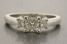 Engagement Ring 14k White Gold Diamond 3 Stone 1ctw 3/4 K VS1 Center Princess 7
