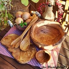 Bowl Salad Cutlery Chopping Board Set Wooden Bowl Olive Wood