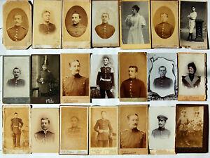 Konvolut, 21 Kabinett-Fotos, CDV, Soldaten und Frauen 1880 - 1914, Kaiserreich.