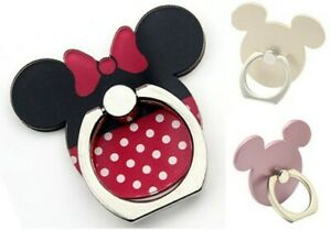 Mobile Phone Ring Holder Stand Finger Grip Minnie Gold & Rose Gold Mouse Rotates