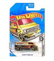 Hot Wheels 2019 HW Super Chromes CUSTOM '77 DODGE VAN 1:64 Scale Die-Cast Gold