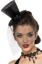 Widow Top Hat & Veil on Headband Halloween Burlesque Fancy Dress Costume P6401