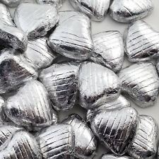 500g Bag Approx 100 SILVER Chocolate Foiled Hearts Luxury Wedding Favours