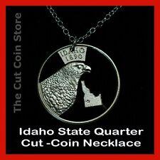 Idaho 25¢ ID Quarter Cut Coin Necklace Gem State Peregrine Falcon Esto Perpetua