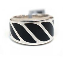 New DAVID YURMAN 16mm Graphic Cable Band Ring in Black Onyx Size 11.5
