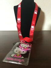 Hello Kitty Red Lanyard with Name Badge & Hello Kitty Charm With Tracking