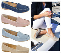 Jo & Joe Womens Flat Suede Moccasins Shoes Casual Flatform Slip On Suede Shoes