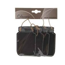 Small Hanging Mason Jar Chalk Board Blackboard Wedding Table Name Place Favours
