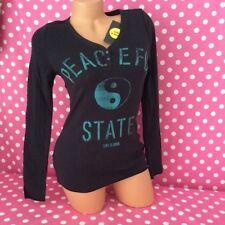 LIFE IS GOOD Ying/Yang Henley Yoga Sleep Lounge Button T Shirt Top Tee XS