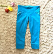 ATHLETA Relay Women's Leggings Capri Athletic Blue Pocket Mesh Adjustable Small