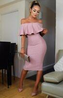 Dusky Pink Pinstripe Bardot Midi Dress Ruffle Party Dress Wedding Guest Outfit