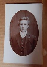 Postcard young Edwardian Lad in his sunday best clothes vintage fashion unpost