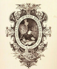 Julius MAESS Eule Exlibris Dr. Hans Brendicke Military Iron Cross BEE Owl c1900