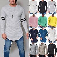 Men's Cotton Plain Sweatshirt T-Shirt Blouse Pullover Long Sleeve Crew Neck Tops