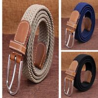 Men's PU Leather Metal Covered Buckle Woven Elastic Stretch Belt Fashion
