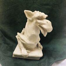 Dog Face Dragon Gargoyle Statue Figurine Half Body White 6� Pushing Stone-Look
