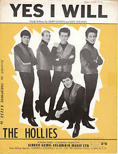 Yes I Will - The Hollies - 1964 Sheet Music