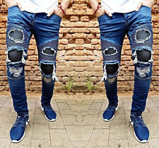 Herren Jeans Hose Denim Slim Fit Zerrissen Destroyed Verwaschen Blau W29-W36 Neu