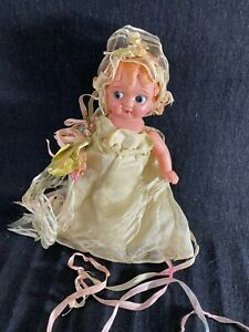 """1930's Celluloid Doll-7""""- Carnival Bride Type- Fancy Outfit, Sweet Face - SALE"""