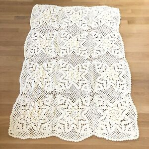 Hand Crocheted Afghan Ivory Yellow 3D Flowers SOFT