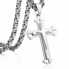 Cross Pendant Necklace Mens Boys Stainless Steel Silver Byzantine Chain 22 24 in