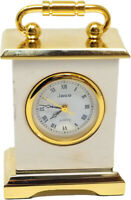 Miniature Table Full Brass Novelty Clock, Vintage Classic Designs, Handle Design