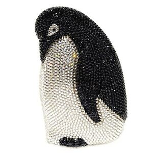 WOMEN'S Luxury Evening Bag HARD SHELL BLACK Penguin Crystal-Embellished Clutch