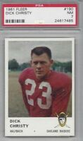1961 Fleer football card #190 Dick Christy, Oakland Raiders PSA 7 NM
